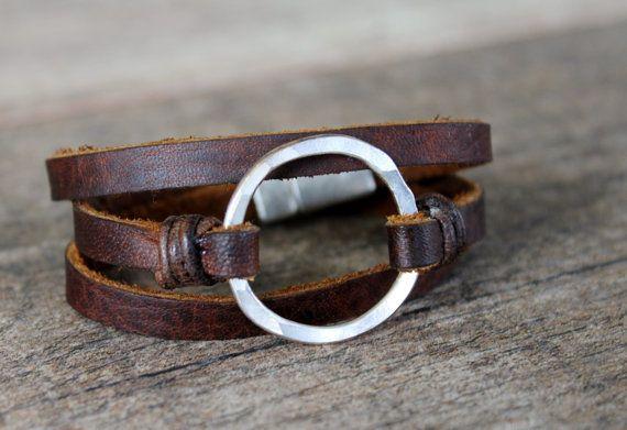 Leather Bracelet/ Eternity Symbol Bracelet/Sterling by IseaDesigns