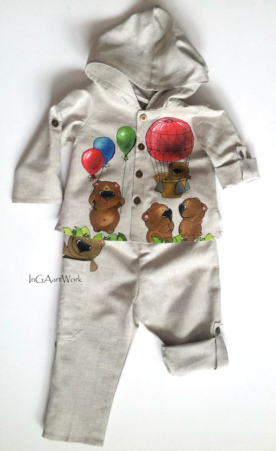 Gray Suit for boys - vintage suit for boy - rustic linen painted suit for boys - Hand painted - ON ORDER ONLY - children summer clothing