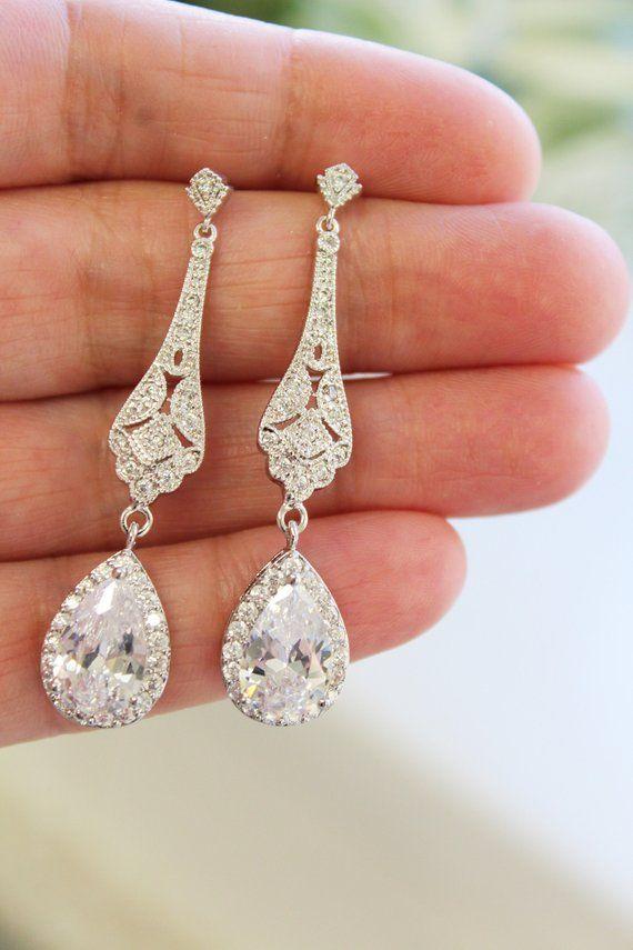 Bridal Jewelry Long Bridal Wedding Jewelry Gatsby 1920s earrings Crystal Bridal Earrings Vintage Wedding Earrings Chandelier Earrings