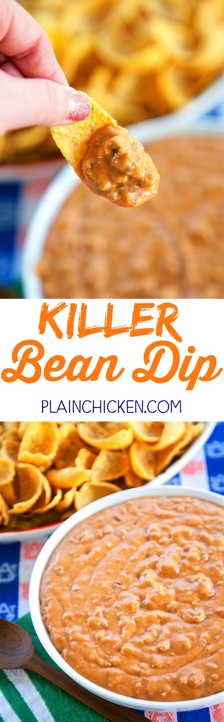 Killer Bean Dip - only 5 ingredients! Refried beans, taco seasoning, hamburger, velveeta and salsa. Can make on the stove or in the slow cooker. This stuff is CRAZY good! Great for tailgating!! I could make a meal out of this dip. Great Mexican dip!!