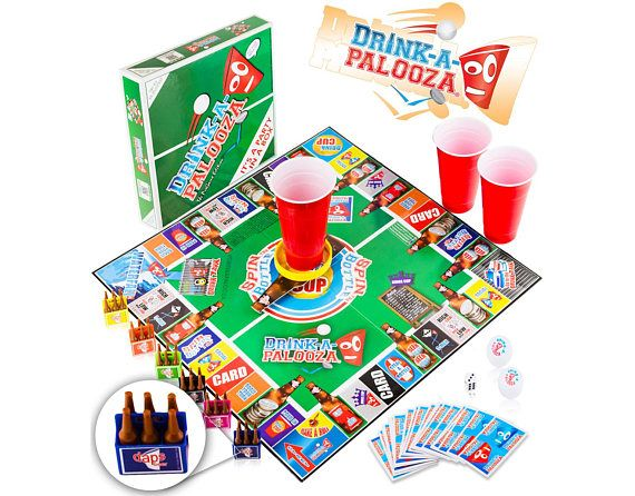 """DRINK-A-PALOOZA Party Board Game: combines """"old-school"""" & """"new-school"""" Drinking Games featuring Beer Pong, Flip Cup, Kings Cup, Party Games"""