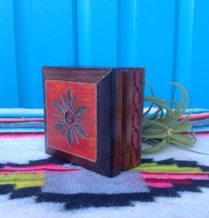 FREE SHIPPING-Vintage Small Square Engraved Wood Trinket Box-Engraved Leaf Flower Design-Bohemian-Ring Bearer Box-Gift Box-Ethnic Decor by ellansrelics02 on Etsy https://www.etsy.com/listing/587252785/free-shipping-vintage-small-square