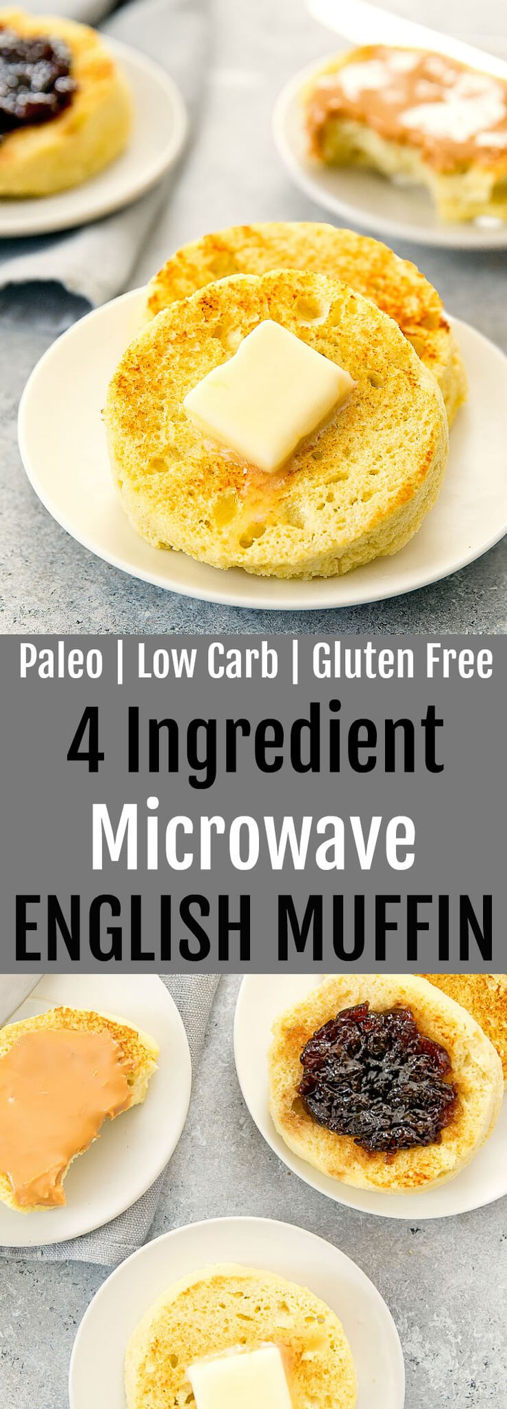 4 Ingredient Microwave English Muffin. Paleo, low carb and gluten free. This bread cooks in less than 2 minutes!