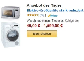 Amazon: 60 Elektro-Großgeräte für einen Tag teils stark reduziert https://www.discountfan.de/artikel/technik_und_haushalt/60-elektro-grossgeraete-fuer-einen-tag-teils-stark-reduziert.php Für einen Tag sind bei Amazon 60 Elektro-Großgeräte zu teils deutlich reduzierten Preisen zu haben. Mit dabei: Eine Mikrowelle mit Heißluft und Grill für 109 statt 139 Euro. Amazon: 60 Elektro-Großgeräte für einen Tag teils stark reduziert (Bild: Amazon.de) Die Elektro-Großgerä