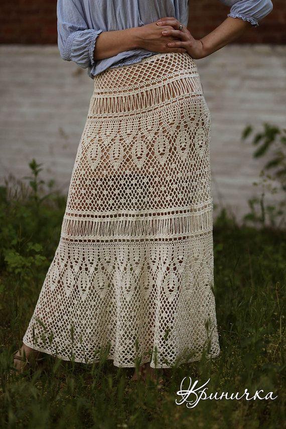 MADE TO ORDER Maxi skirt white handmade maxi skirt by krinichka