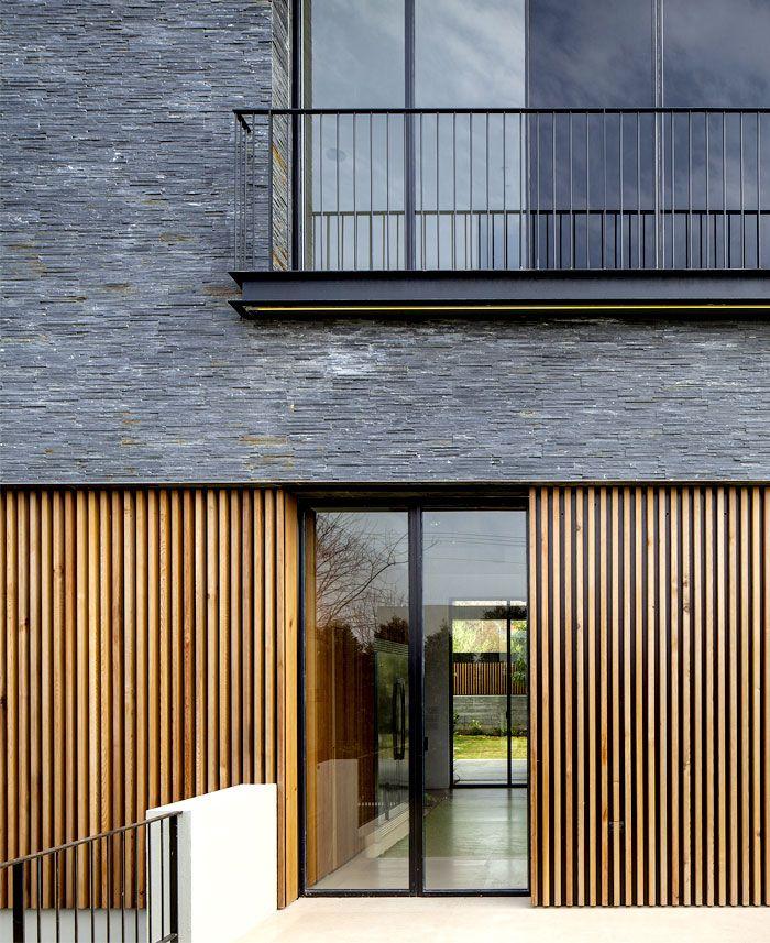 Contemporary Seaside Villa by Blatman Cohen Architects basalt slabs dark stone ns residence