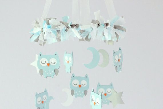 Baby Blue Owl Nursery Mobile- Baby Mobile, Crib Mobile, Baby Shower Gift on Etsy, 35,87€