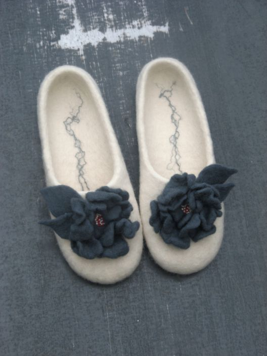 "Elegant white felted slippers ""Winter Call"", felted flowers. $70.00, via Etsy."
