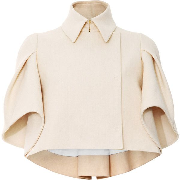 DELPOZO Woven Cape-Effect Cropped Jacket found on Polyvore