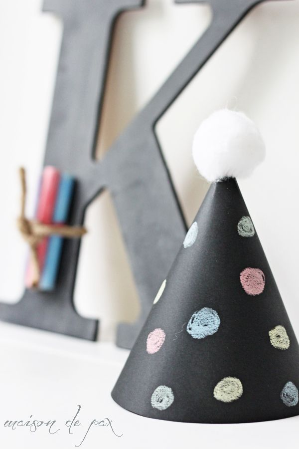 Perfect for your next party, these little chalkboard party hats are so easy precious!
