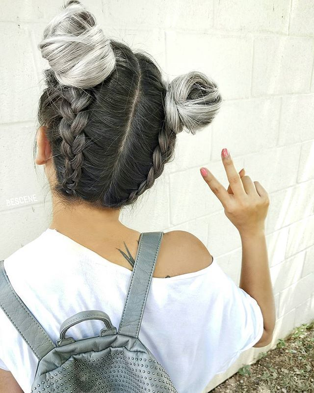 WEBSTA @ bescene - SILVER BRAIDED BUNS ✌ I did the color using all @schwarzkopfusa and braided buns by @hairbyapes .…