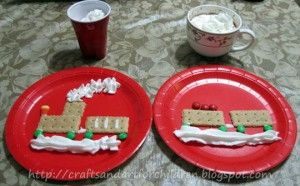 graham cracker train - polar express inspired  and more fun snacks and activites to go along with the movie