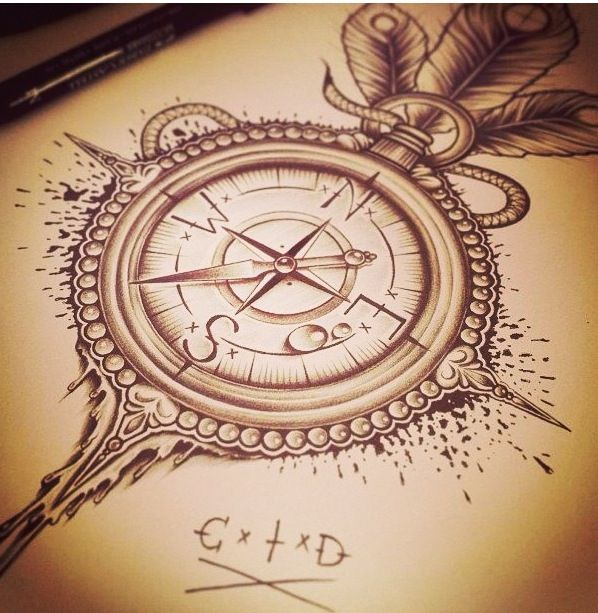 """Compass rose tattoo push: """"follow my feet. If I don't do it, nobody will."""" Side of thigh or rib cage"""