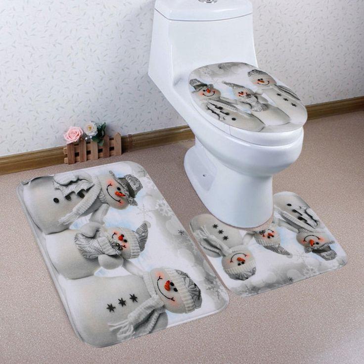 Christmas Snowmen Family Pattern 3 Pcs Toilet Mat Bath Mat - GREY WHITE