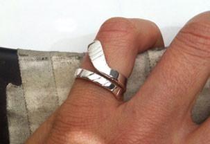 Medium Ice Hockey Stick Wrap Ring Sterling Silver