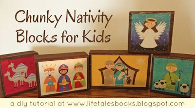 chunky nativity blocks for kids: a tutorial (#tbt)  Create inexpensive nativity blocks for children from 2x4s and these paper pieces made from a Heritage Makers scrap page.  Instructions at the link.