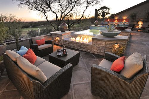 eclectic patio by Prideaux Design