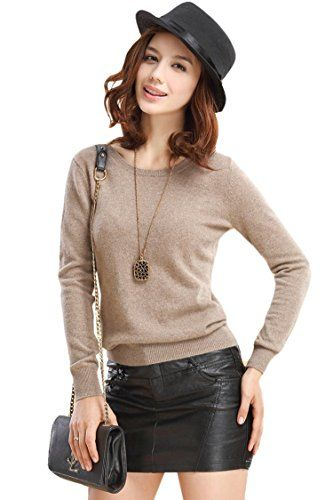 """PinkWind Women's Solid Color Cashmere Round Neck Pullover Base Sweater Khaki. Material:Superior Cashmere+Wool. No Pilling,No Shrinking,Shape Maintain. Ribbed Crewneck, Ribbed Cuffs and Hem. Runs Small,S=US0,M=US(0-2),L=(US4-6),XL=(US8-10),XXL=US12,XXXL=US14. Size:S-3XL,see size in the below""""Production Description""""."""
