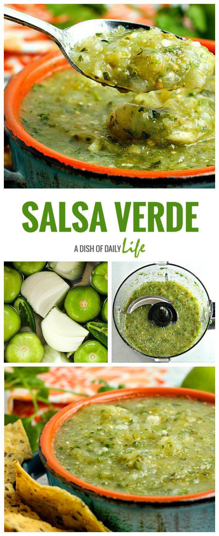 Learn how to make authentic Salsa Verde! This recipe will be a hit on Mexican night or Cinco de Mayo, perfect for game day too!  Great with chips, over burritos and enchiladas, and perfect as an accompaniment to just about any Mexican dish!  Cinco de Mayo | Mexican recipes | appetizer | tomatillo salsa