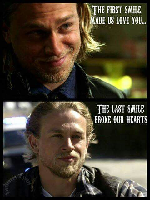 The first smile made us love you, the last smile broke our hearts. RIP Jax Teller SOA