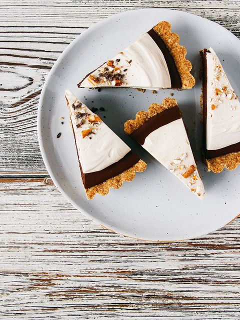 Chocolate mousse pie with peanut butter whip  pretzel crust