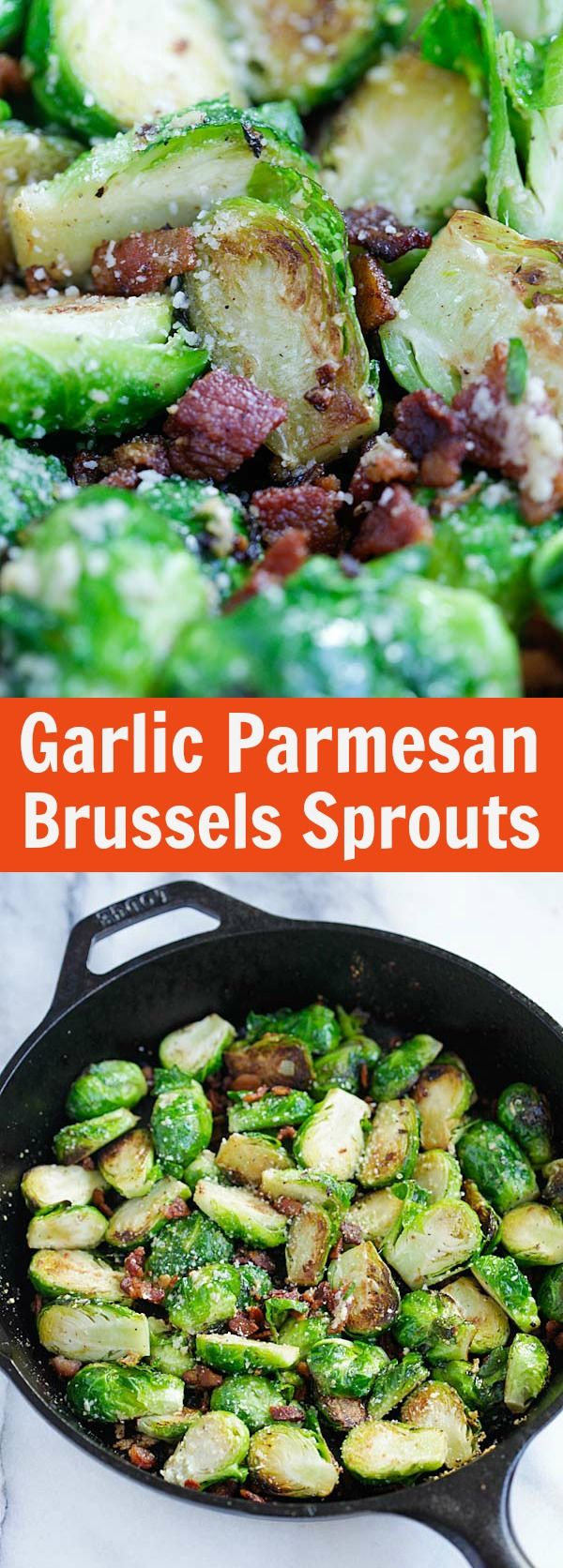 Garlic Parmesan and Bacon Brussels Sprouts – skillet roasted Brussels sprouts with garlic, Parmesan cheese and bacon. Sinfully good | rasamalaysia.com