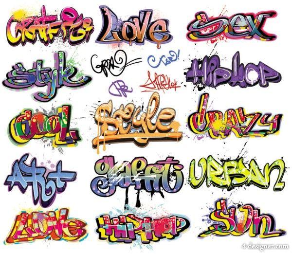 Exquisite graffiti font design 01   vector material