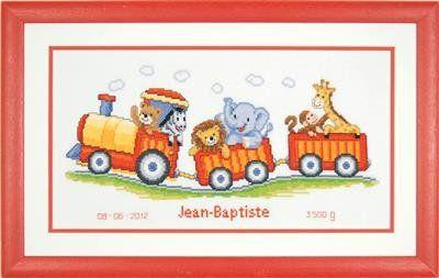 Borduurpakket safaritrein. Op het werk is ruimte voor het plaatsen van de naam, geboortedatum en geboortegewicht. Het uiteindelijke werk wordt ca. 38 x 18 cm.