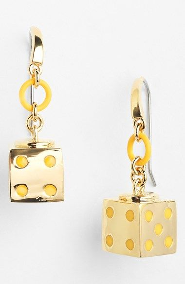 Cute 'Roll the Dice' drop earrings by Marc Jacobs http://rstyle.me/n/qv25hnyg6