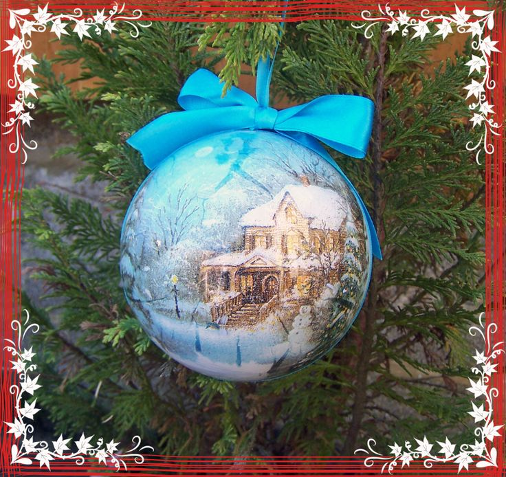 Decoupage Christmas Bauble with a winter scenery motif, Handmade Xmas decor, unique Xmas gift by MagdalenaMagic on Etsy