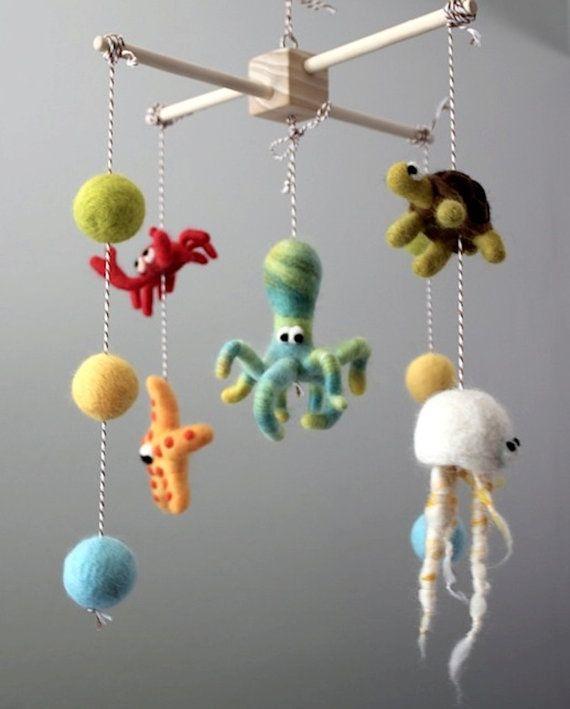 Handcrafted Needle Felted Sea Ocean Nursery Mobile