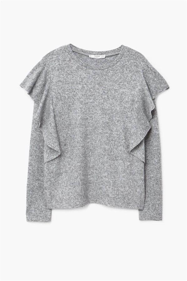 rebajas 2018 tiendas low cost invierno jersey gris mango. Volantes discretos