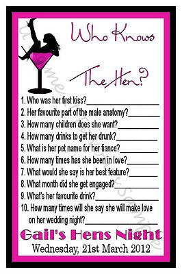 "Personalised Hens Night Game ""Who Knows The Hen?"" x10"
