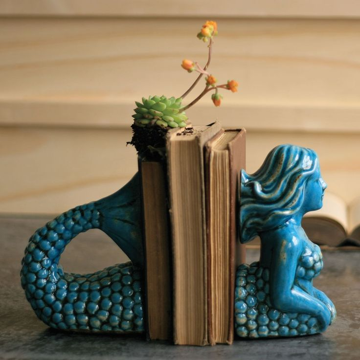 Beautiful Ceramic Mermaid Bookends.Decor, Ceramics Mermaid, Old Book, Mermaid Bookends, Beach House, Gift Ideas, Girls Room, Sea, Products
