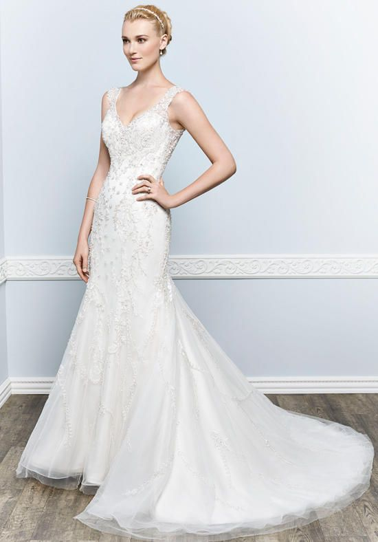 Mermaid silhouette with v-neck neckline and dropped waist style | Kenneth Winston | https://www.theknot.com/fashion/1657-kenneth-winston-wedding-dress