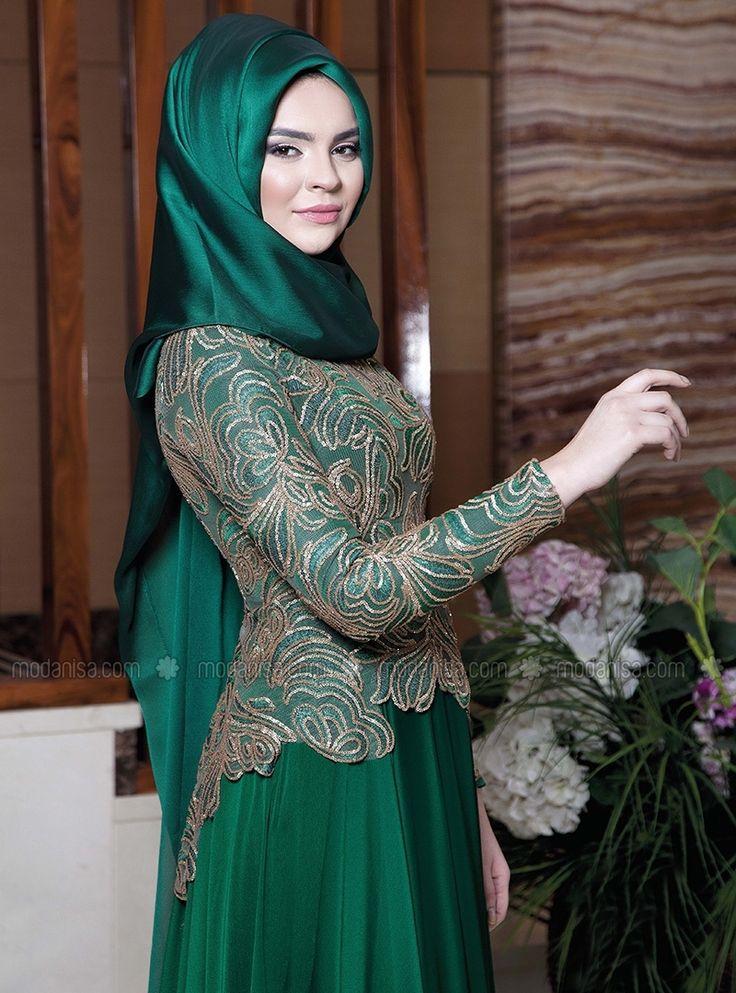 Sena Evening Dress - Emerald Green - Lâl By Hilal