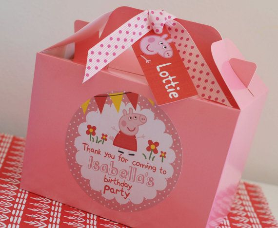 Personalised Childrens PEPPA Pig GEORGE Pig Birthday Party Bag Box Activity Stationary