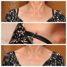 Prenda as alças do seu sutiã com um alfinete pequeno por dentro da blusa para escondê-las ou evitar que as mangas escorreguem dos ombros. | 23 truques brilhantes para cuidar de suas roupas que facilitarão sua vida