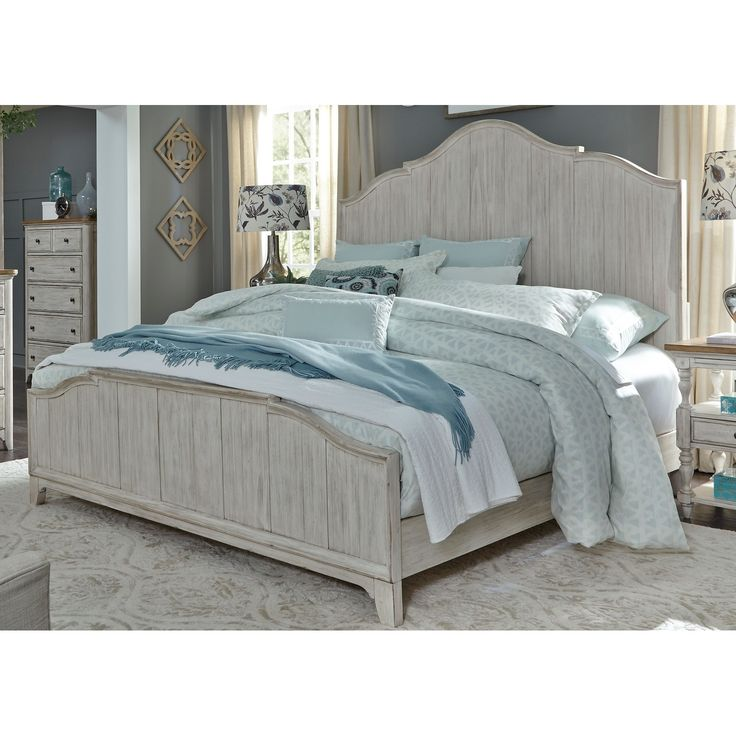 Liberty Farmhouse Reimagined Antique White Panel Bed, Beige