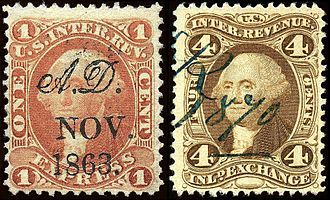 • Commerce, Stamps and/or Currency   :The first use of revenue stamps in the United States was during the civil war era. Revenue stamps would be fixed on taxable items to ensure payment of tax. The use of revenue stamps validates the definition of America as a community that grew through taxes that were paid to improve the conditions of the people.