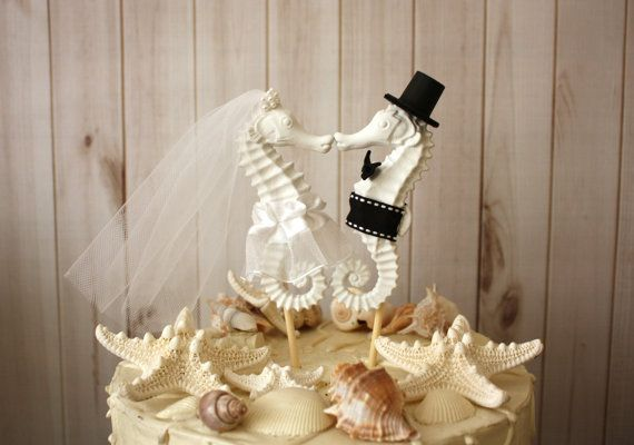 Seahorse Wedding Cake Topper-Kissing Seahorse by MorganTheCreator