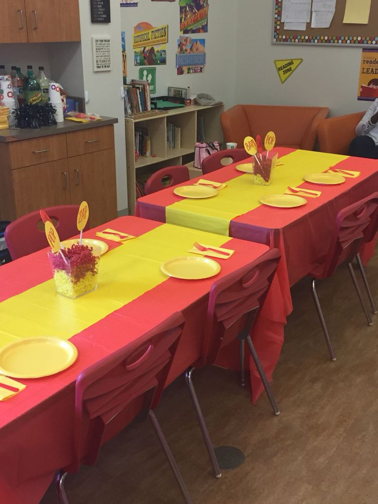 My own DIY Flash party theme... Dollar tree table cloth and runner!