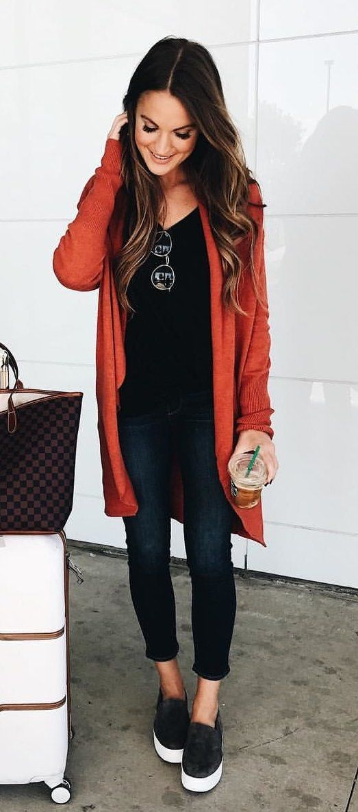 #fall #outfits women's orange cardigan with black jeans