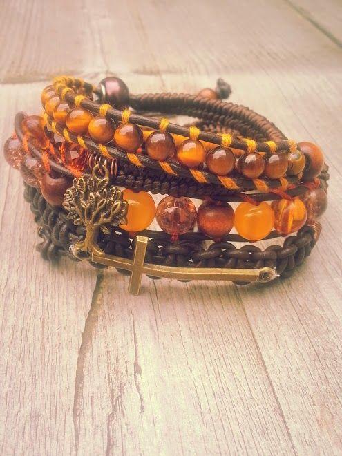 """The eye of the tiger"" (Verkocht)  Met edelsteen; tijgeroog en facet geslepen kristal als ook bruin leer.  Past 5 á 6 keer om de pols.   Wrap it 5 or 6 times arround. Made this on the 5th of October.  #Boho #Bohemian #Caarroos #Bracelets #Jewelry #Gipsy #Armband."