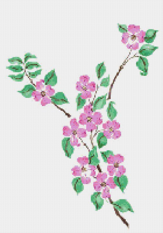 Pink Cherry Blossom Cross Stitch Pattern Flower by xstitchpatterns