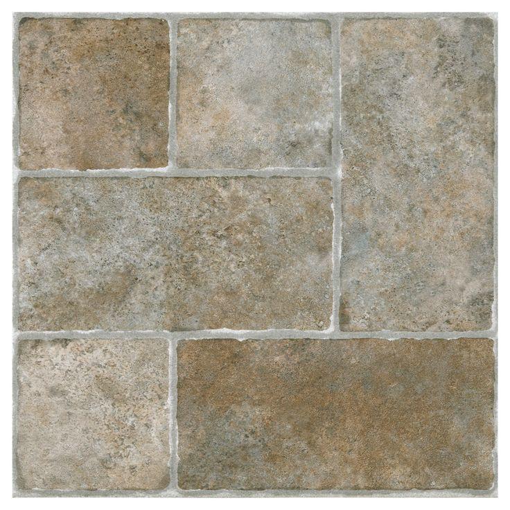 """Nexus Self Adhesive Vinyl Floor 20 Tiles - Quartose Granite - (12""""X12"""") - Achim, Beige"""