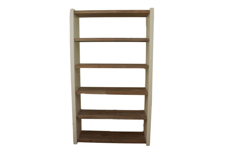 Tall white bookcase with gray ash wood style shelves is a modern yet textured look that brings warmth to a ...