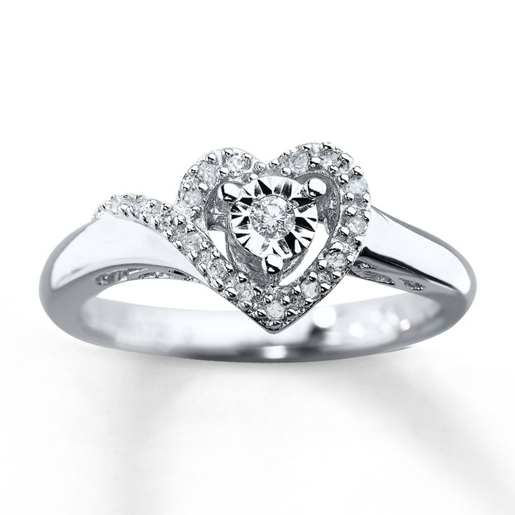 Kay Jewelers Promise Rings | Kay - Diamond Promise Ring 1/10 ct tw Round-cut Sterling Silver