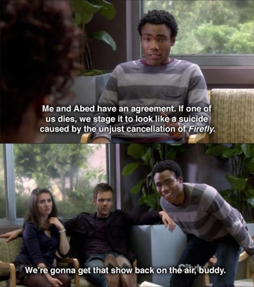 Firefly on Community -- Troy and Abed know what's what !