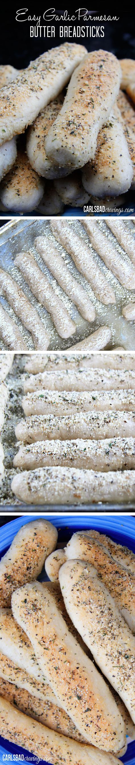 Perfect for THANKSGIVING!  You NEED this recipe in your life! Soft, buttery, melt in your mouth breadsticks dusted with Parmesan and herbs. Better than any restaurant breadsticks and super simple!